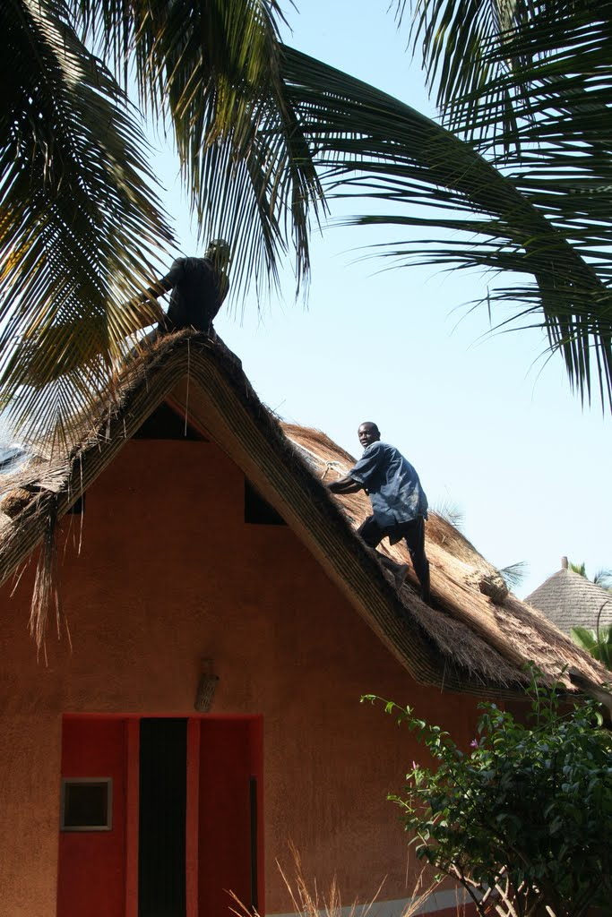Thatching a Roof in Saly, Senegal